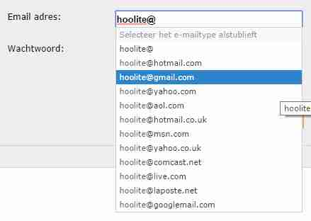 Auto complete email address