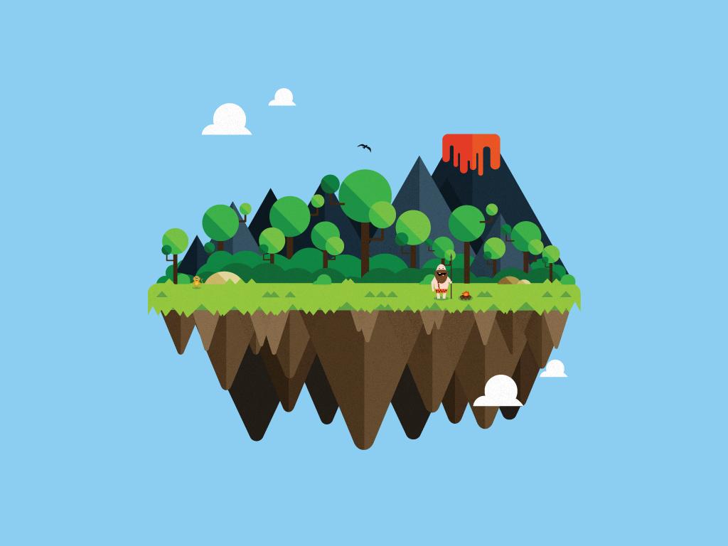 free wallpaper vector island  caveman